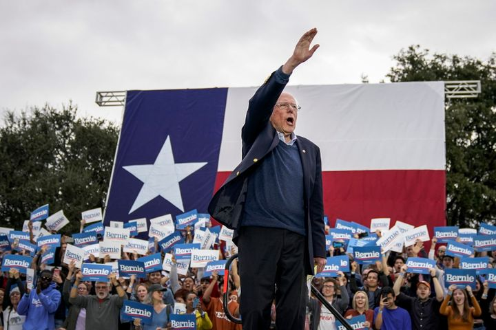 Sen. Bernie Sanders (I-Vt.) speaks at a rally in Austin, Texas, on Feb. 23. His decision not to add South Texas's border regi