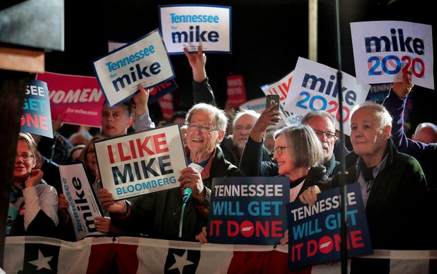 Bloomberg fans gather as Democratic presidential contender Mike Bloomberg delivers his stump speech during...