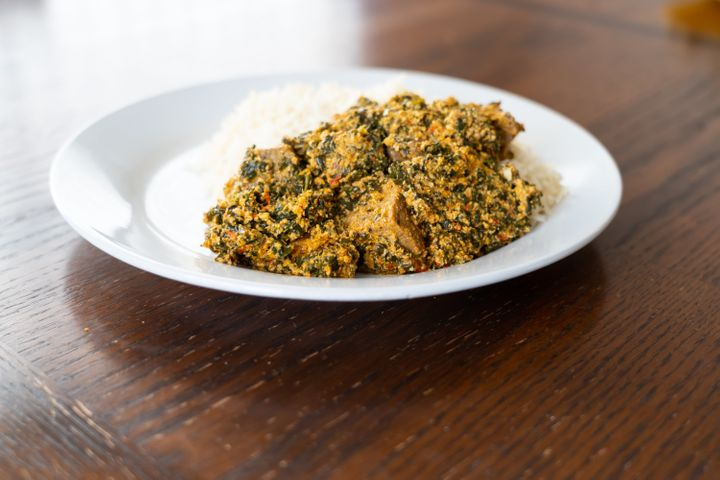Packed with spinach, egusi soup is a staple in West African cooking.
