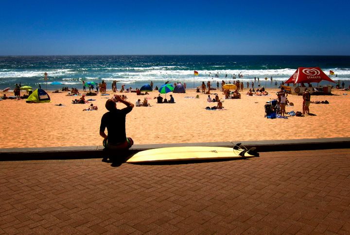 Manly Beach, Sydney on a hot summer's January day.