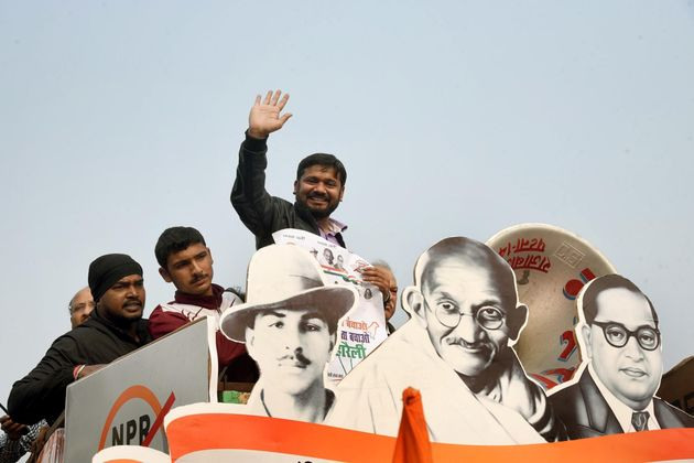 Kanhaiya Kumar waves at the gathering during a protest against CAA, NPR and NRC in front of Gandhi Statue,...