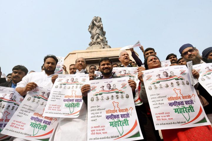Kanhaiya Kumar holds a placard during a protest against CAA, NPR and NRC in front of Gandhi Statue, at Gandhi Maidan, on January 29, 2020 in Patna.