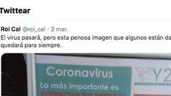 El cartel de una farmacia sobre el coronavirus que causa