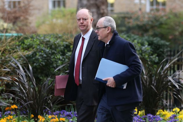 Chief medical adviser to the UK government Chris Whitty (left) and the chief scientific adviser to the...