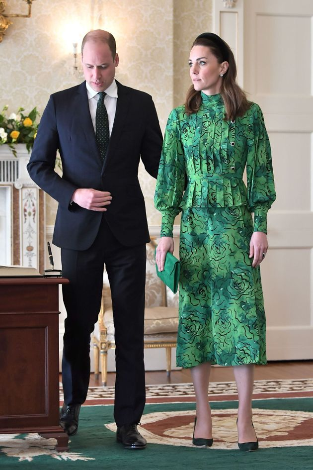 The Duke and Duchess of Cambridge arrive for a meeting with the president of Ireland at Áras an...