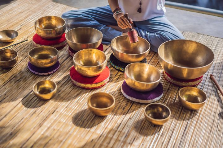 Tibetan singing bowls may be one of the sound methods used in a sound bath class.