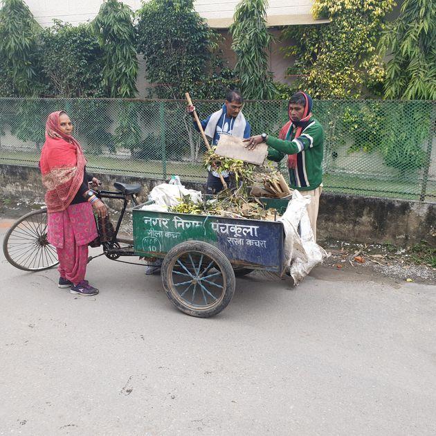 Bhanmati, a 56-year-old sanitation worker of the Municipal Corporation of Panchkula (Haryana), seen with...