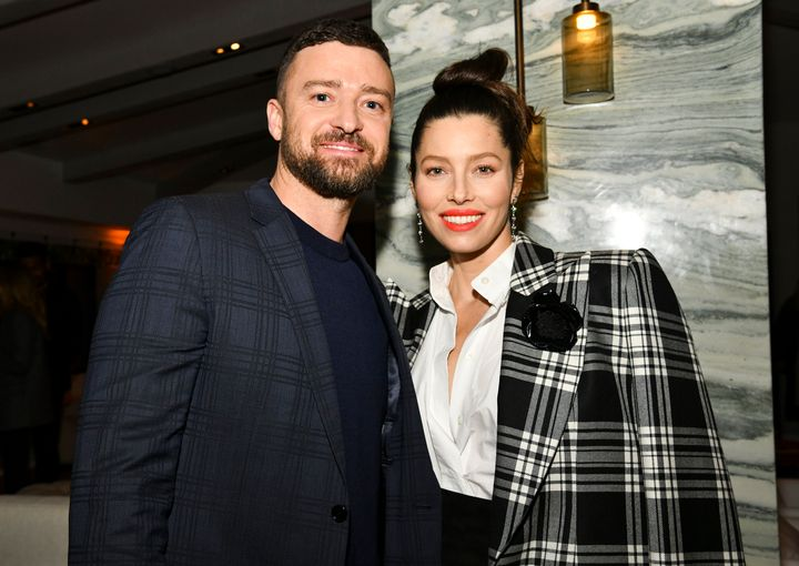 """Justin Timberlake and Jessica Biel attend the Season 3 premiere of """"The Sinner"""" in February."""