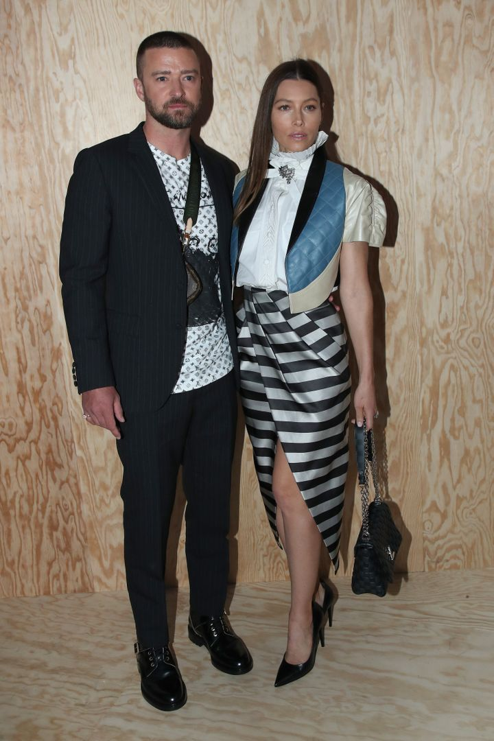 Justin Timberlake and Jessica Biel pictured together at Paris Fashion Week in October.