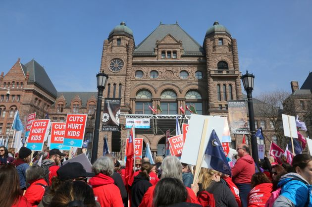 Thousands of teachers, students and parents protest planned education cuts by Premier Doug Ford and the...