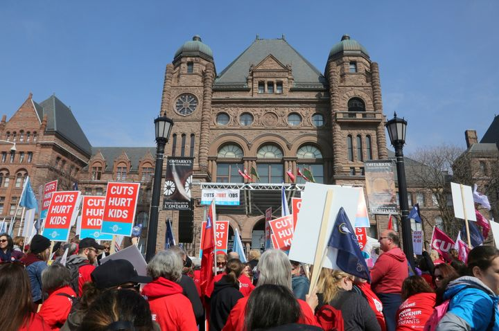 Thousands of teachers, students and parents protest planned education cuts by Premier Doug Ford and the Ontario government on April 6, 2019 in Toronto.