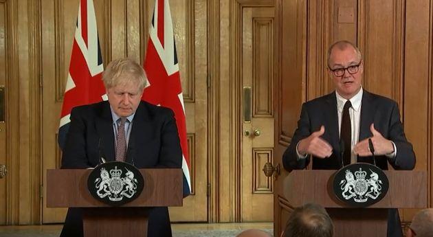 Prime Minister Boris Johnson and Chief Scientific Adviser Sir Patrick Vallance speaking during a press...
