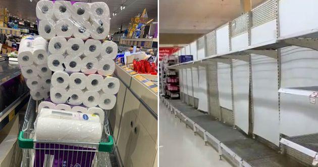Australians randomly hoard toilet paper amid coronavirus panic.