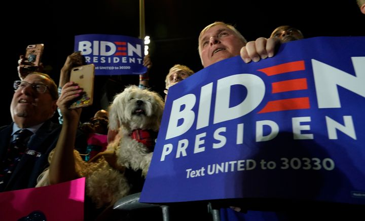 Supporters attend a Super Tuesday night rally for Democratic presidential candidate Joe Biden in Los Angeles.
