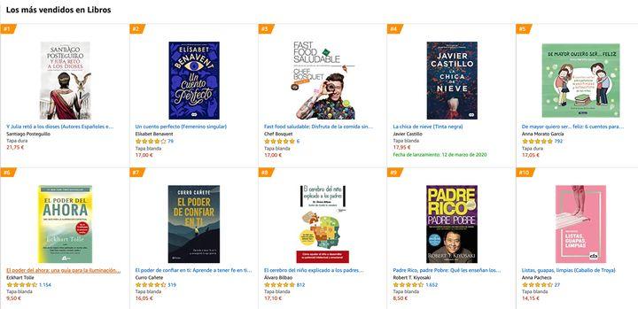 Los libros más vendidos de Amazon a fecha del 4 de marzo de 2020.