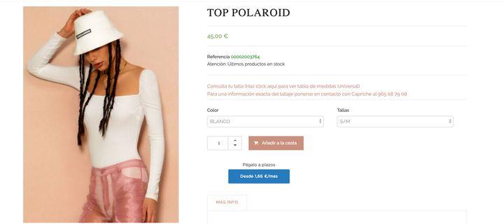 El top POLAROID, a juego con los pantalones de Cristina Pedroche.