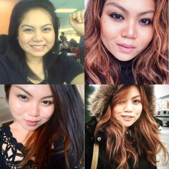 Pauline Mellon, a 28-year-old Filipina in the U.S., with her hair rebonded (left) and natural (right).