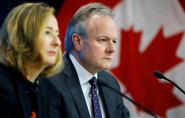 Bank of Canada Governor Stephen Poloz looks on next to Senior Deputy Governor Carolyn Wilkins during...
