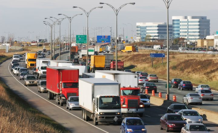 In this stock photo, traffic is seen on Autoroute 40 in Montreal. Canadian manufacturing expanded in February, despite a viral outbreak and protests that shut down critical infrastructure.