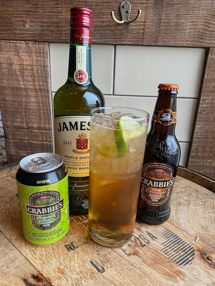 Jameson and Crabbie's uses Crabbie's Alcoholic Ginger Beer, which is made with real ginger.