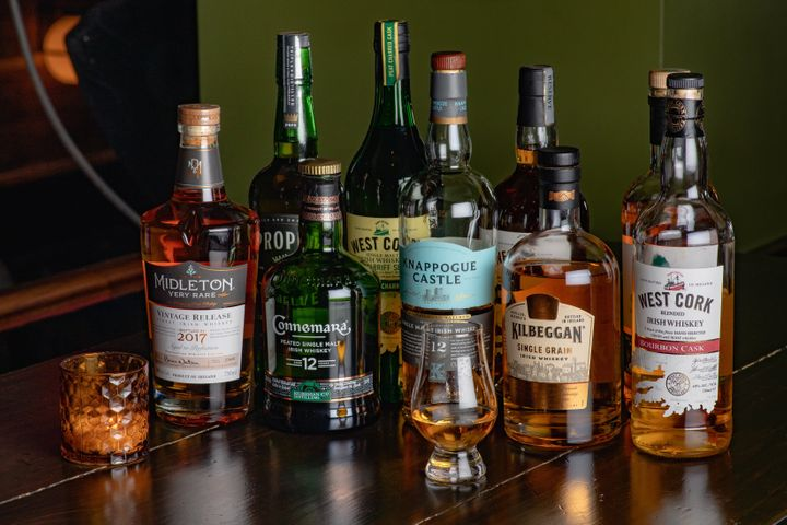 West Cork Irish Whiskey, at right, is an ingredient in the Harry's Barrel Aged Tipperary cocktail.