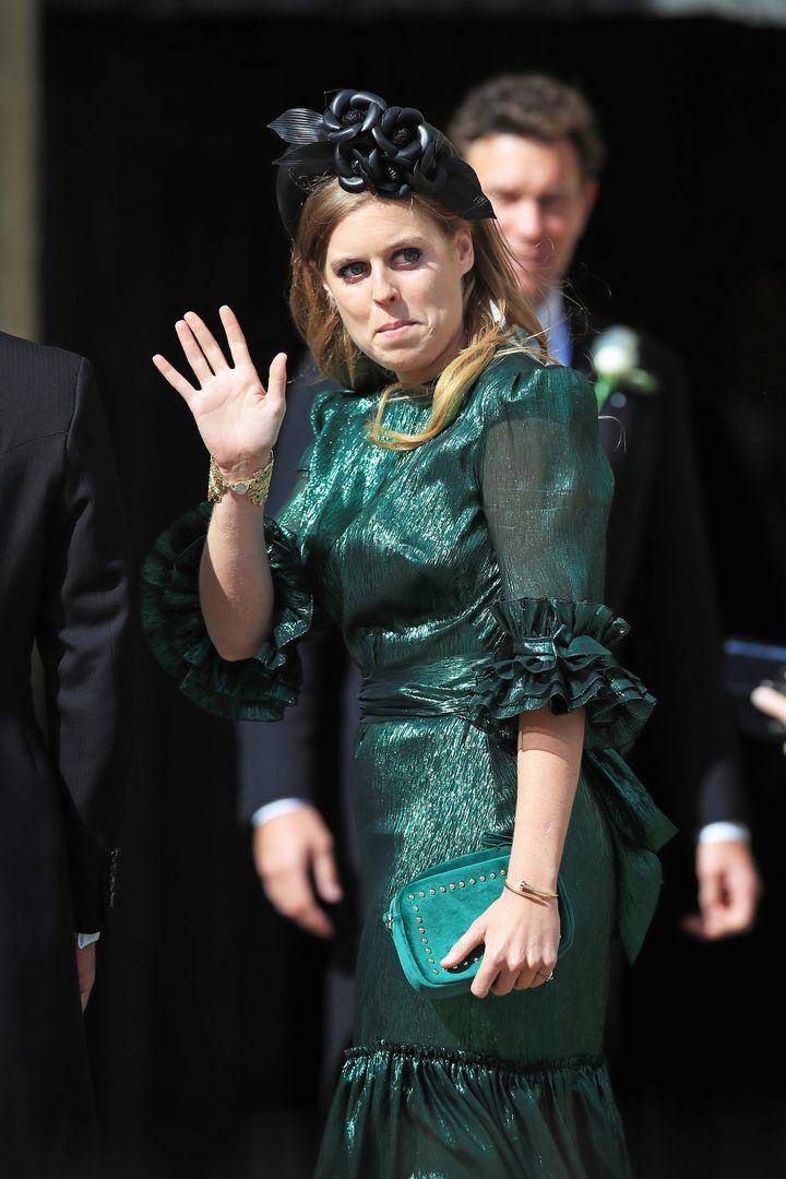 Beatrice arrives at York Minster for the wedding of singer Ellie Goulding to Caspar Jopling onAug. 31, 2019.