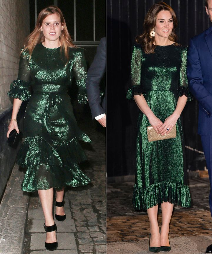 Princess Beatrice (left) and the Duchess of Cambridge have very similar green dresses.