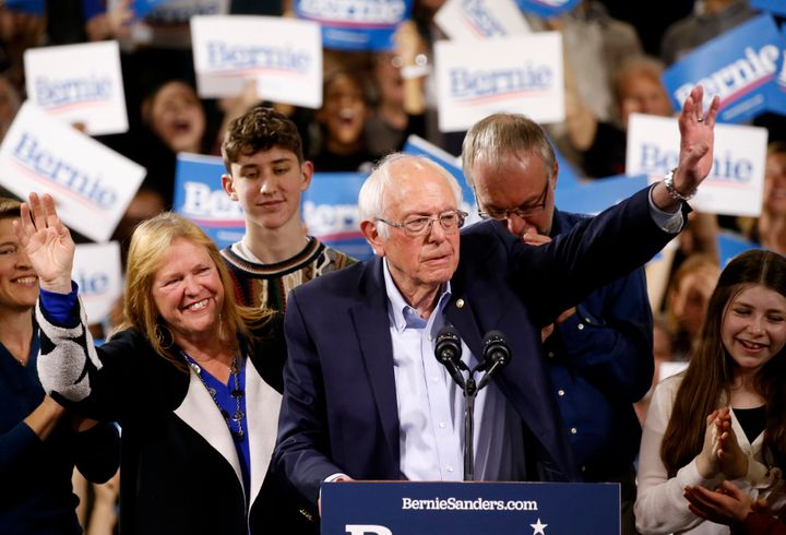 Democratic U.S. presidential candidate Senator Bernie Sanders is accompanied by his relatives, including his wife Jane, as he