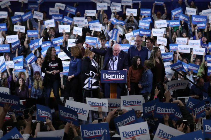 Sen. Bernie Sanders, speaking to supporters in his home state of Vermont Tuesday night, sought to put the best face on some d