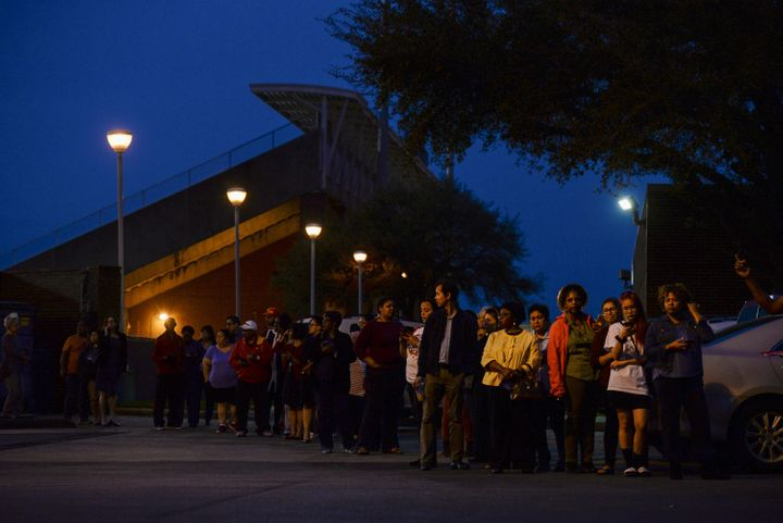 Voters wait in line to cast their ballot in the Democratic primary at a Houston polling place on Super Tuesday.