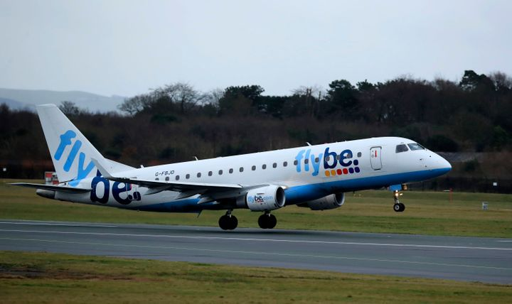 A Flybe flight departs from Manchester Airport