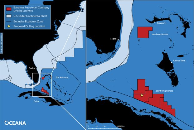 A map of the Bahamas Petroleum Company's drilling license areas and the proposed site of its exploratory well.