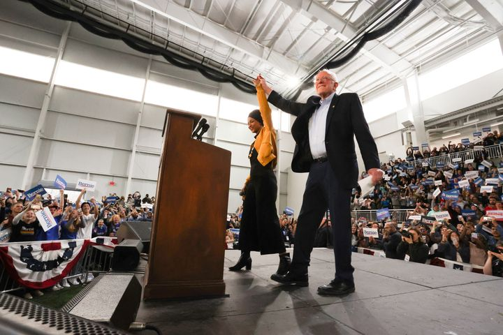 Sen. Bernie Sanders takes the stage Saturday after being introduced by U.S. Rep. Ilhan Omar (D-Minn.) in Springfield, Virgini