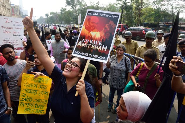 People protest against Amit Shah's visit to