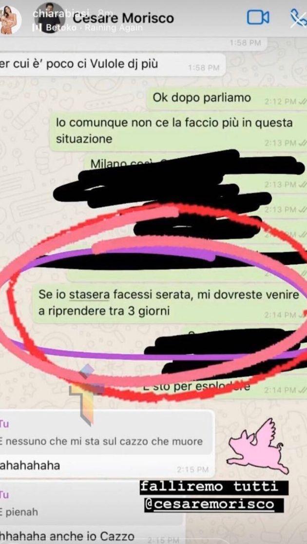 Lo screenshot della frase di Chiara