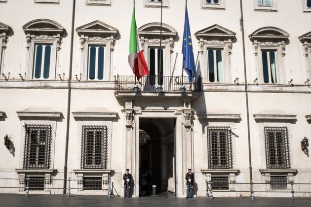 A view of Palazzo Chigi, seat of the Italian Government, after the latest updates of the Coronavirus...