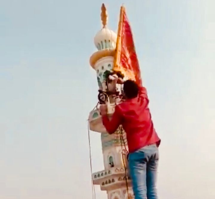 Ravi Parashar, a Delhi resident, took down the saffron flag that Hindu rioters had hoisted atop a mosque in Karawal Nagar during the communal riots on 25 February, 2020.