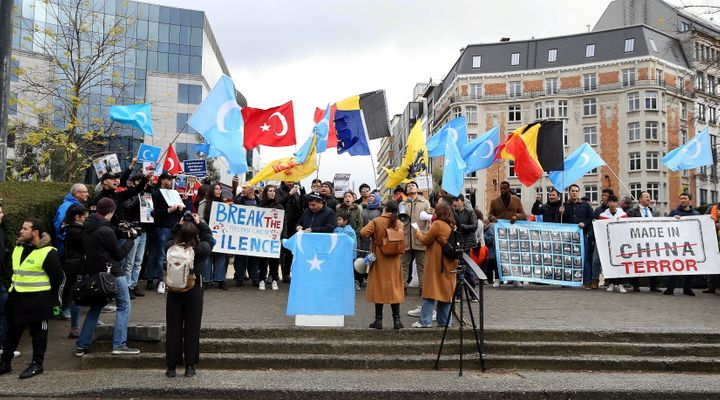 Nearly 200 Uighur Turks gather to protest against China and its East Turkistan policies in front of the European Parliament b