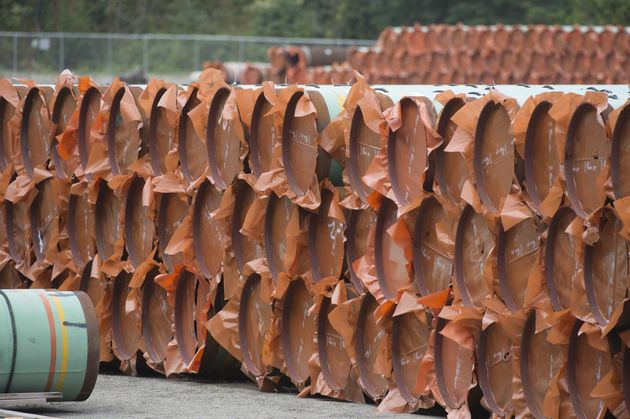 Pipes at a Trans Mountain facility near Hope, B.C. on Aug. 22,