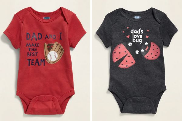 More onesies from Old Navy. These display the different ways boys and girls are socialized to understand their relationships with their dads.