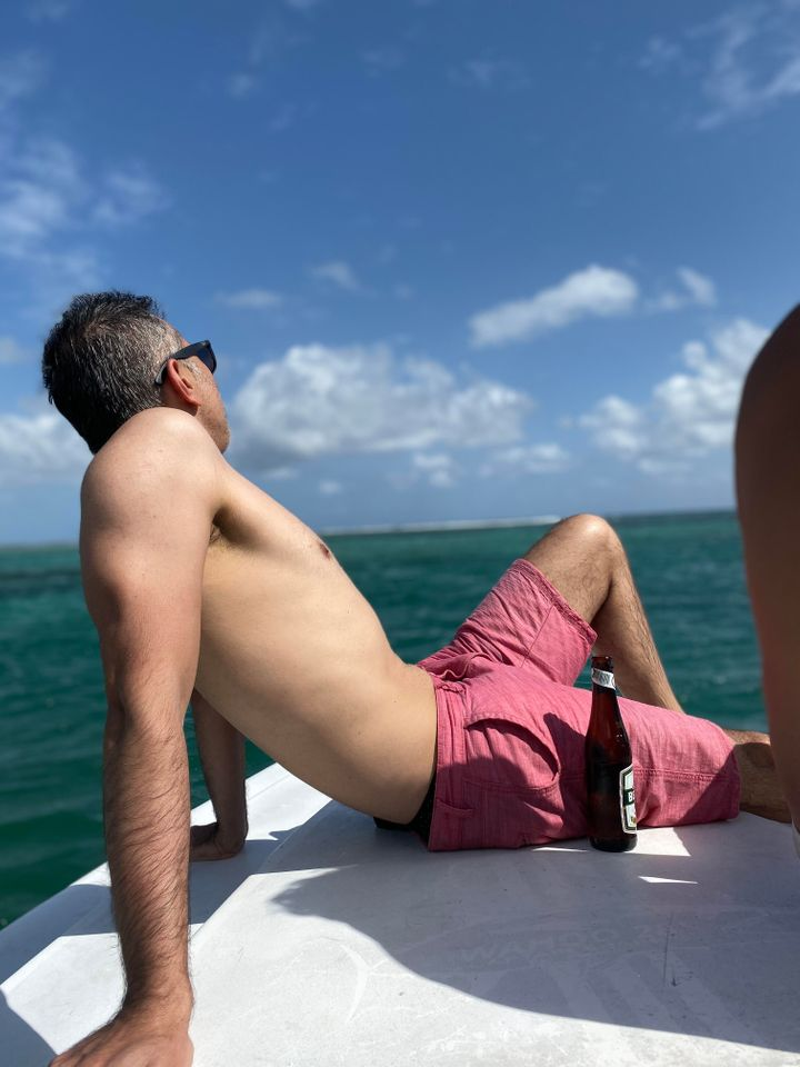 My husband on a recent vacation. This is what I had to deal with!