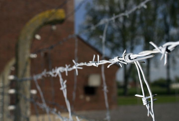 Barbed wire at the memorial site of the former Nazi labor and death camp Neuengamme in Hamburg, Germany.