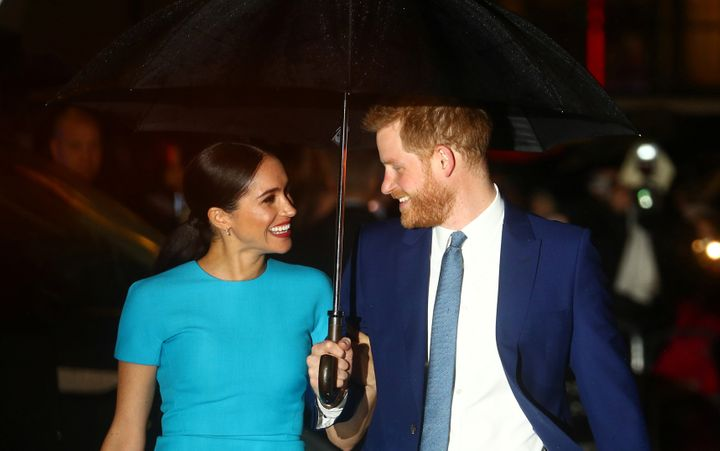 Prince Harry and Meghan Markle arrive at the Endeavour Fund Awards in London on March 5, 2020.