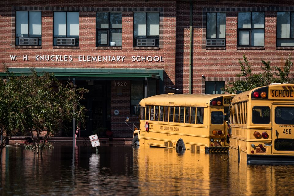 An elementary school is inundated with floodwaters from the Lumber River on Oct. 12, 2016, in Lumberton,...