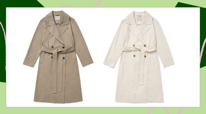 The trench coat comes in two different colors: clay (left) and sandstone (right).