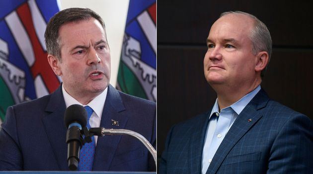 Alberta Premier Jason Kenney and Conservative MP and leadership candidate Erin O'Toole are shown in a...