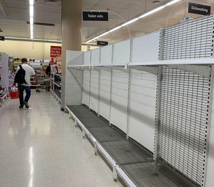 Shelves are bare in supermarkets across Sydney.