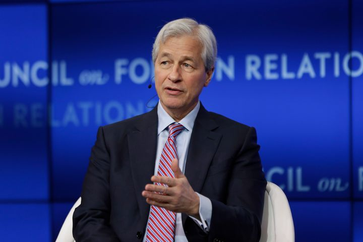Jamie Dimon, the chairman and CEO of JPMorgan Chase, speaks at the Council on Foreign Relations Thursday on April 4, 2019.