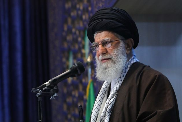 Iranian Supreme Leader Ayatollah Ali Khamenei at his first Friday sermon after eight years in the Imam...
