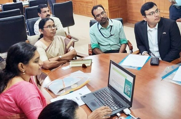 Kerala health minister KK Shailaja (second from left) holds a meeting with officials to discuss ways...